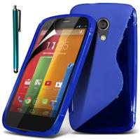 Motorola Moto G X1032/ Forte/ Grip Shell/ LTE 4G: Accessoire Housse Etui Pochette Coque S silicone gel + Stylet - BLEU