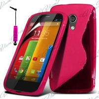 Motorola Moto G X1032/ Forte/ Grip Shell/ LTE 4G: Accessoire Housse Etui Pochette Coque S silicone gel + mini Stylet - ROSE