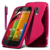 Motorola Moto G X1032/ Forte/ Grip Shell/ LTE 4G: Accessoire Housse Etui Pochette Coque S silicone gel + Stylet - ROSE