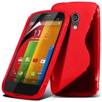 Motorola Moto G X1032/ Forte/ Grip Shell/ LTE 4G: Accessoire Housse Etui Pochette Coque S silicone gel - ROUGE