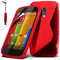 Motorola Moto G X1032/ Forte/ Grip Shell/ LTE 4G: Accessoire Housse Etui Pochette Coque S silicone gel + mini Stylet - ROUGE