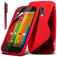 Motorola Moto G X1032/ Forte/ Grip Shell/ LTE 4G: Accessoire Housse Etui Pochette Coque S silicone gel + Stylet - ROUGE
