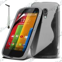 Motorola Moto G X1032/ Forte/ Grip Shell/ LTE 4G: Accessoire Housse Etui Pochette Coque S silicone gel + mini Stylet - TRANSPARENT