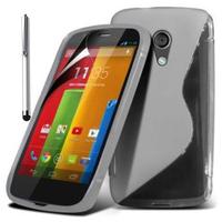 Motorola Moto G X1032/ Forte/ Grip Shell/ LTE 4G: Accessoire Housse Etui Pochette Coque S silicone gel + Stylet - TRANSPARENT