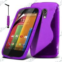 Motorola Moto G X1032/ Forte/ Grip Shell/ LTE 4G: Accessoire Housse Etui Pochette Coque S silicone gel + mini Stylet - VIOLET