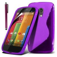 Motorola Moto G X1032/ Forte/ Grip Shell/ LTE 4G: Accessoire Housse Etui Pochette Coque S silicone gel + Stylet - VIOLET