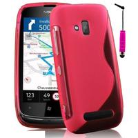 Nokia Lumia 610: Accessoire Housse Etui Pochette Coque S silicone gel + mini Stylet - ROSE