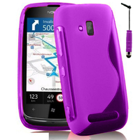 Nokia Lumia 610: Accessoire Housse Etui Pochette Coque S silicone gel + mini Stylet - VIOLET