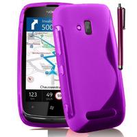 Nokia Lumia 610: Accessoire Housse Etui Pochette Coque S silicone gel + Stylet - VIOLET