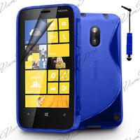 Nokia Lumia 620: Accessoire Housse Etui Pochette Coque S silicone gel + mini Stylet - BLEU
