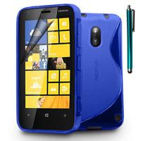 Nokia Lumia 620: Accessoire Housse Etui Pochette Coque S silicone gel + Stylet - BLEU