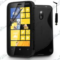 Nokia Lumia 620: Accessoire Housse Etui Pochette Coque S silicone gel + mini Stylet - NOIR