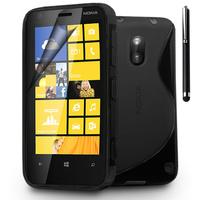 Nokia Lumia 620: Accessoire Housse Etui Pochette Coque S silicone gel + Stylet - NOIR