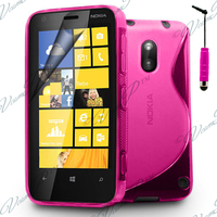Nokia Lumia 620: Accessoire Housse Etui Pochette Coque S silicone gel + mini Stylet - ROSE