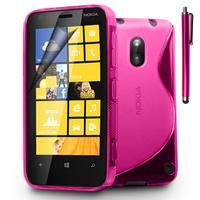 Nokia Lumia 620: Accessoire Housse Etui Pochette Coque S silicone gel + Stylet - ROSE