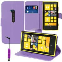 Nokia Lumia 920: Accessoire Etui portefeuille Livre Housse Coque Pochette support vidéo cuir PU + mini Stylet - VIOLET