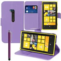 Nokia Lumia 920: Accessoire Etui portefeuille Livre Housse Coque Pochette support vidéo cuir PU + Stylet - VIOLET
