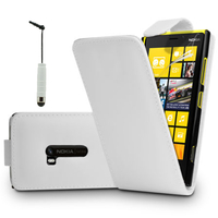 Nokia Lumia 920: Accessoire Etui Housse Coque Pochette simili cuir + mini Stylet - BLANC