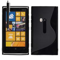 Nokia Lumia 920: Accessoire Housse Etui Pochette Coque S silicone gel + Stylet - NOIR