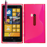 Nokia Lumia 920: Accessoire Housse Etui Pochette Coque S silicone gel + Stylet - ROSE