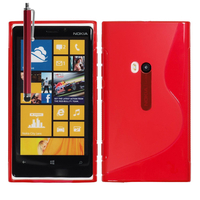 Nokia Lumia 920: Accessoire Housse Etui Pochette Coque S silicone gel + Stylet - ROUGE