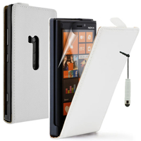 Nokia Lumia 920: Accessoire Housse coque etui cuir fine slim + mini Stylet - BLANC