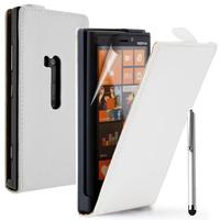 Nokia Lumia 920: Accessoire Housse coque etui cuir fine slim + Stylet - BLANC