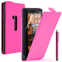Nokia Lumia 920: Accessoire Housse coque etui cuir fine slim + Stylet - ROSE