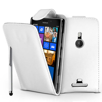 Nokia Lumia 925: Accessoire Etui Housse Coque Pochette simili cuir + Stylet - BLANC
