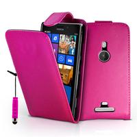 Nokia Lumia 925: Accessoire Etui Housse Coque Pochette simili cuir + mini Stylet - ROSE