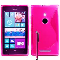 Nokia Lumia 925: Accessoire Housse Etui Pochette Coque S silicone gel + Stylet - ROSE