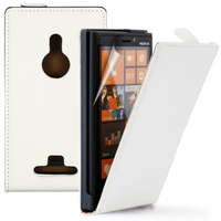 Nokia Lumia 925: Accessoire Housse coque etui cuir fine slim - BLANC