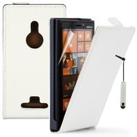 Nokia Lumia 925: Accessoire Housse coque etui cuir fine slim + mini Stylet - BLANC