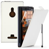 Nokia Lumia 925: Accessoire Housse coque etui cuir fine slim + Stylet - BLANC