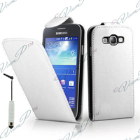 Samsung Galaxy Core LTE 4G SM-G386F: Accessoire Etui Housse Coque Pochette simili cuir + mini Stylet - BLANC