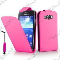 Samsung Galaxy Core LTE 4G SM-G386F: Accessoire Etui Housse Coque Pochette simili cuir + mini Stylet - ROSE