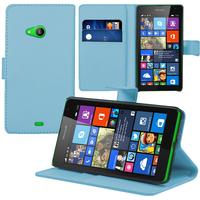 Microsoft Nokia Lumia 535/ 535 Dual SIM: Accessoire Etui portefeuille Livre Housse Coque Pochette support vidéo cuir PU - BLEU
