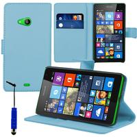 Microsoft Nokia Lumia 535/ 535 Dual SIM: Accessoire Etui portefeuille Livre Housse Coque Pochette support vidéo cuir PU + mini Stylet - BLEU