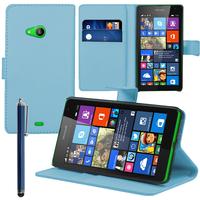 Microsoft Nokia Lumia 535/ 535 Dual SIM: Accessoire Etui portefeuille Livre Housse Coque Pochette support vidéo cuir PU + Stylet - BLEU