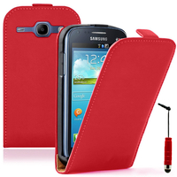 Samsung Galaxy Core LTE 4G SM-G386F: Accessoire Housse coque etui cuir fine slim + mini Stylet - ROUGE