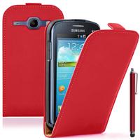 Samsung Galaxy Core LTE 4G SM-G386F: Accessoire Housse coque etui cuir fine slim + Stylet - ROUGE