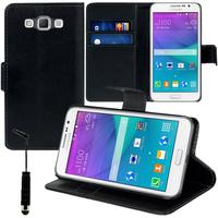 Samsung Galaxy Grand Max SM-G720N0: Accessoire Etui portefeuille Livre Housse Coque Pochette support vidéo cuir PU + mini Stylet - NOIR