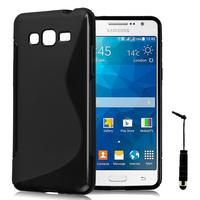 Samsung Galaxy Grand Max SM-G720N0: Accessoire Housse Etui Pochette Coque S silicone gel + mini Stylet - NOIR