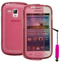 Samsung Galaxy Trend S7560/ Galaxy S Duos S7562: Accessoire Coque Etui Housse Pochette silicone gel Portefeuille Livre rabat + mini Stylet - ROSE