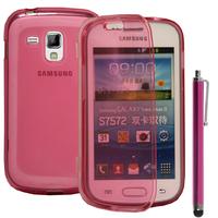 Samsung Galaxy Trend S7560/ Galaxy S Duos S7562: Accessoire Coque Etui Housse Pochette silicone gel Portefeuille Livre rabat + Stylet - ROSE
