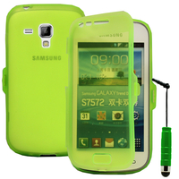 Samsung Galaxy Trend S7560/ Galaxy S Duos S7562: Accessoire Coque Etui Housse Pochette silicone gel Portefeuille Livre rabat + mini Stylet - VERT