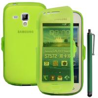 Samsung Galaxy Trend S7560/ Galaxy S Duos S7562: Accessoire Coque Etui Housse Pochette silicone gel Portefeuille Livre rabat + Stylet - VERT