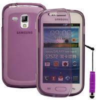 Samsung Galaxy Trend S7560/ Galaxy S Duos S7562: Accessoire Coque Etui Housse Pochette silicone gel Portefeuille Livre rabat + mini Stylet - VIOLET