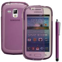 Samsung Galaxy Trend S7560/ Galaxy S Duos S7562: Accessoire Coque Etui Housse Pochette silicone gel Portefeuille Livre rabat + Stylet - VIOLET