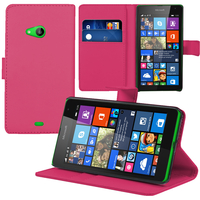 Microsoft Nokia Lumia 535/ 535 Dual SIM: Accessoire Etui portefeuille Livre Housse Coque Pochette support vidéo cuir PU - ROSE